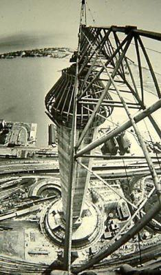 The CN Tower under construction.